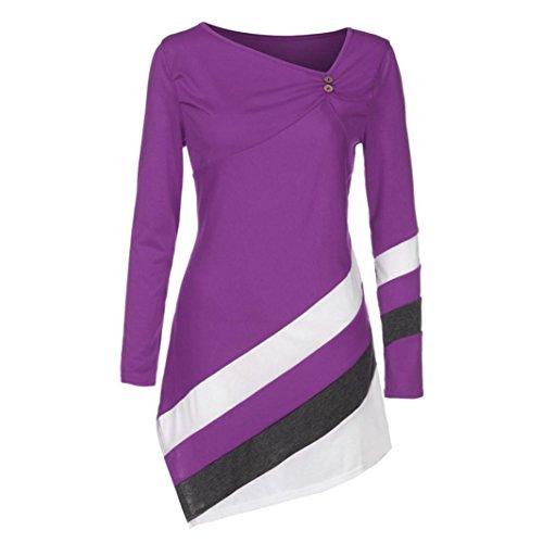 Tops Damen Pullover DOLDOA Streifen Irregulär Langarm Oberteile Sweatshirt