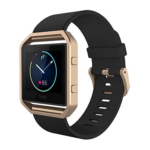 Fitbit Blaze Armband mit Rahmen, Simpeak Silikon Ersatz Band Strap mit Schönen Rahmen Fall für Fitbit Blaze Smart Fitness Watch,Kleine,Black Band+Roségold Frame