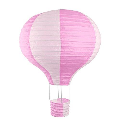 alt Partei Lightless hängende DIY Dekor-Heißluft-Ballon Laterne 16 Zoll Durchmesser, Rosa, Weiß ()