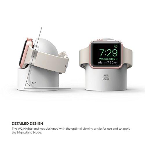 elago W2 Ständer Kompatibel mit Apple Watch Serie 5 (2019) / Serie 4 / Series 3 / Series 2 / Series 1 / 44mm / 42mm / 40mm / 38mm - [Nachtmodus] [Kabelmanagement] [Kratzfestes Silikon] - Weiß