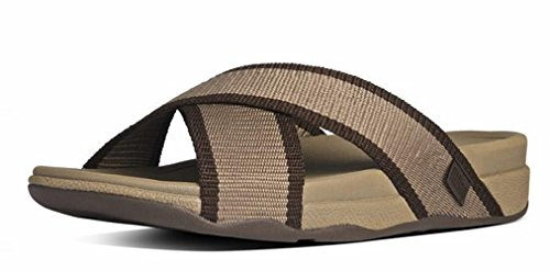 FitFlop Surfer Leather, Sandales Plateforme homme Chocolat
