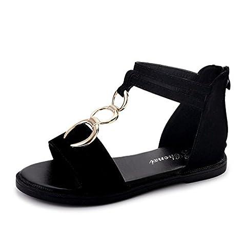 version coréenne de la sandale joker,Étudiants féminins chaussures de plage à fond plat,cross strap chaussures romaines-A Longueur du pied=22.8CM(9Inch)
