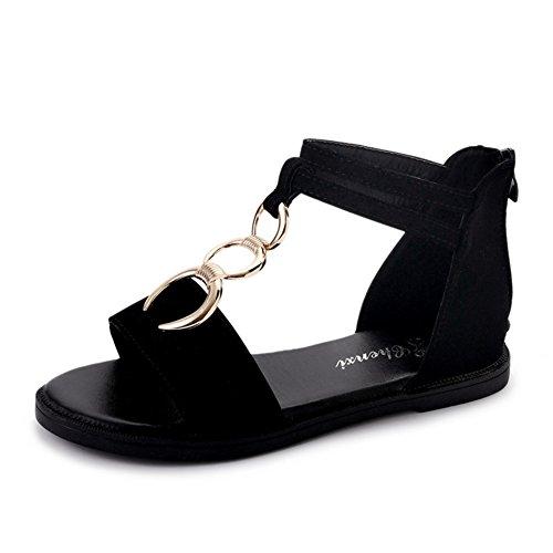 Version Coréenne Des Sandales Joker, Chaussures De Fond Plat Femmes Plage Étudiants, Cross Strap Chaussures Romaines A