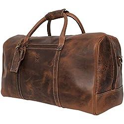 Rustic Town Sac de Voyage Cuir véritable Sasha Grand 51 cm fourre-Tout Besace Week-End Sac Sport Bagages Cabine à Main Marron Foncé