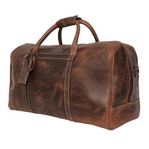 Rustic Town groß Leder Reisetasche - Carry On Vintage Umhängetasche Seesack Weekender Tasche für Herren und Damen (Dunkelbraun) -
