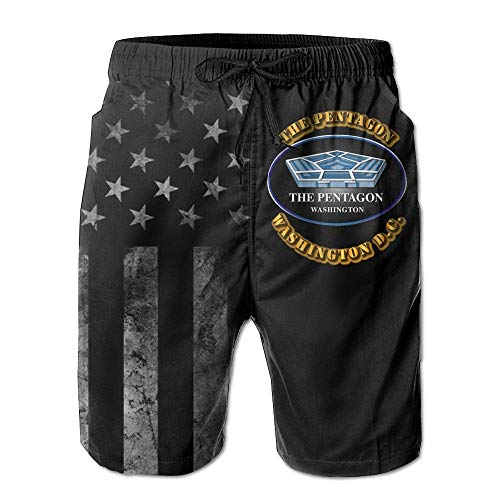 Pillow Socks US Army The Pentagon Washington with American Flag Men's Beach Shorts Swim Trunks - Swimsuit Athletic Shorts XXL - Flag-peeling