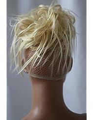 PRETTYSHOP XXL Postiche Cheveux En Caoutchouc Chouchou Chignons VOLUMINEUX Bouclés Ou Chignon Décoiffé platine blond 613A G3F