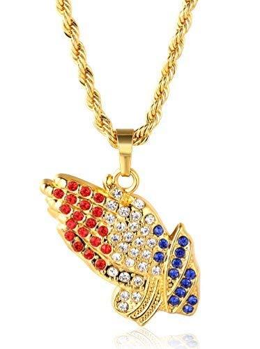 Halukakah ● Gebet ● Männlich In 18 Karat Vergoldetete Umhüllende Hände Anhänger Halskette mit Kostenloser Seil Kette 30