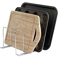 simplywire - Bandeja para hornear y estante para tabla de cortar - Bandeja de almacenamiento - Organizador de armario de cocina – Cromo