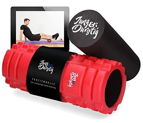 Jung & Durstig Original 2in1 Faszienrolle | Zwei Massagerollen für Beine, Rücken und Wirbelsäule | Genoppte Schaumstoffrolle inklusive E-Book zur Selbstmassage mittlerer Härte