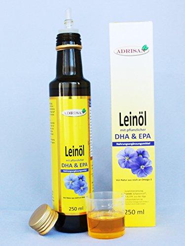Preisvergleich Produktbild Adrisan BIO-Leinöl mit DHA+EPA,  1x 250 ml mit Dosierer,  natives Speiseöl aus 1. Kaltpressung (250)