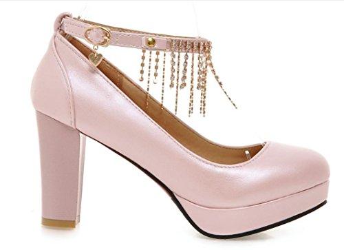 YCMDM FEMME Nouveaux talons hauts avec des chaussures épaisses Pink