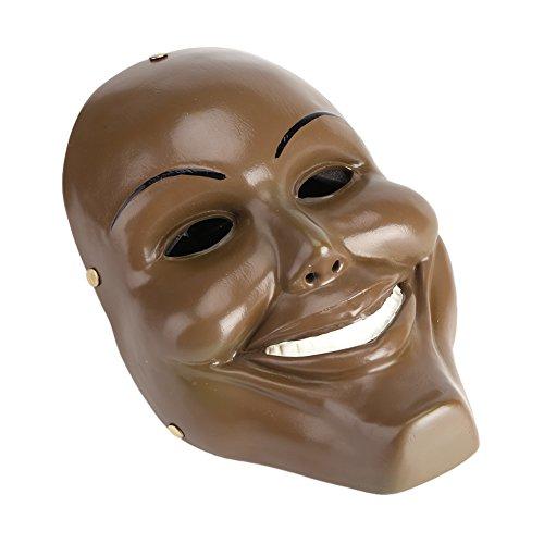 (Zerodis Halloween Maske Harz Lächelndes Gesicht Horror Mask für Cosplay Kostüm Party Festival(Braun))