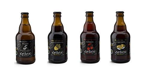 """Pack Desgustación de 4 Cervezas Artesanas - Cerveza de Castaña, Cereza, Ibérica de Bellota y Pilsen - Mejor Cerveza Artesanal de España Premios """" World Beer Awards 2017"""""""
