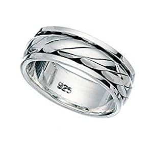 Spinner Revolving Silver Ring - Unisex (Size N)