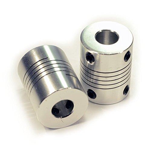 Yosoo Lot de 2 accouplements flexibles en aluminium NEMA 17pour axe de moteur Pour imprimante 3D RepRap CNC de la machine d'argent 5mm to 8mm