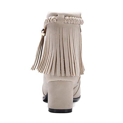 AgooLar Damen Mattglasbirne Rund Zehe Mittler Absatz Rein Reißverschluss Stiefel Cremefarben