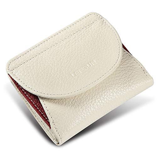 Kleine Snap Wallet (Lensun Geldbörse Mini Damen Echtes Leder Portemonnaie mit Münzfach Kartenfächer Klein Frauen Gledbeutel Brieftasche - Weiß (LS-HB-WE))