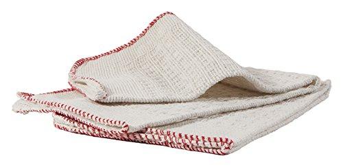 Perfetto candido strofinaccio pavimenti, cotone, bianco/cuciture rosso, 29 x 22 x 1 cm