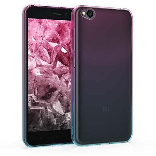 kwmobile Funda para Xiaomi Redmi Go - Carcasa para móvil de TPU con diseño Bicolor - Rosa Fucsia/Azul/Transparente