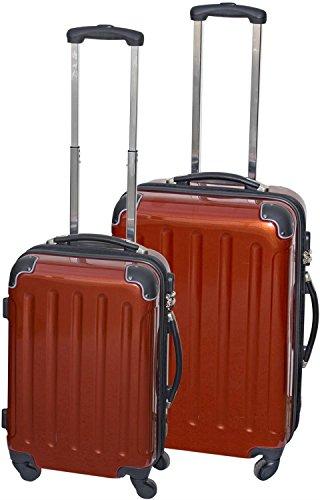 Polycarbonat Kofferset 2 teilig rot mit ABS 360° Fahrwerk mit 4 Rollen