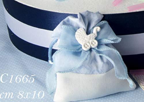 12 pezzi marlen sacchetto celeste portaconfetti con gessetto culla bomboniera nascita bambino