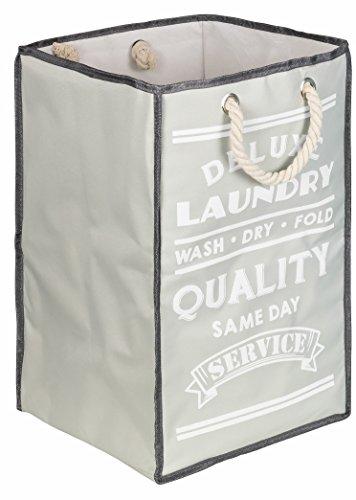 TOPP4u 1x Wäschesammler, Wäschekorb grau, 2 tolle LAUNDRY Designs, faltbarer Wäschesack mit 45 Ltr, 30x30x50 cm, praktischer Wäschebeutel, laundry bag