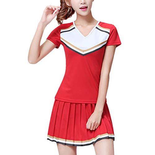 Daytwork Tanz Performance Kostüm Damen - Frauen Sport Gymnastik Cheerleader Kleidung Top Kurze Hülsen Rock Anzug Tanzen Outfit Party (Für Kostüme Frauen Cheerleader)