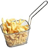 Huaxiong mini cestello cromato rotondo padella per friggere cestello ideale per patatine, gamberetti, anelli di cipolla, chips,