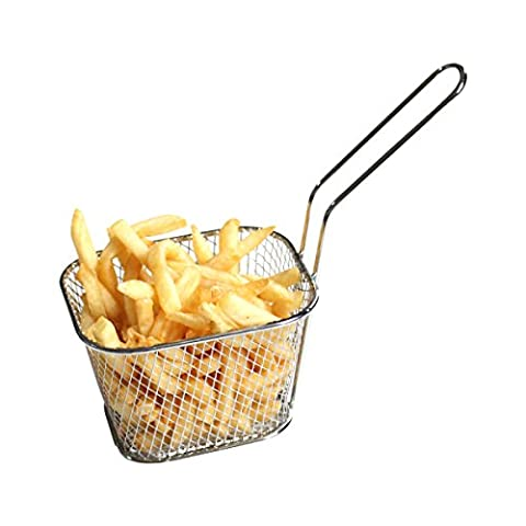 HUAXIONG Mini Chrome Chip Basket Round Frying Fry Serving Basket Ideal for Chips, Fries, Shrimps, Onion Rings,