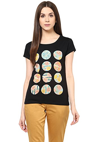 Honey by Pantaloons Women's Round Neck T-shirt _Black_M  available at amazon for Rs.239