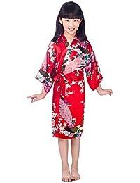 CuteOn Niños Niñas Kimono Satén de seda Soft Blossom Peacock Albornoces Pijamas para los Niños Vestido de Novia