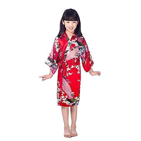 GL&G Chemises de nuit pour enfants Vêtements pour la maison Kimono Hommes et femmes Impression pour animaux Pyjama en soie Peignoirs