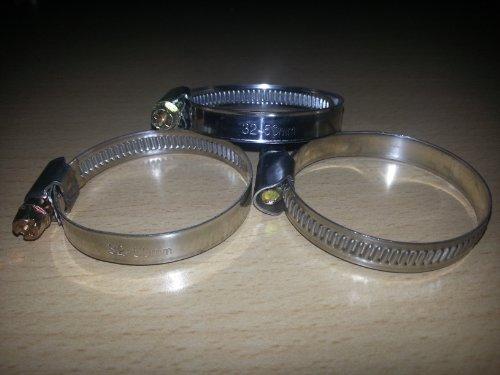 20 Stück EDELSTAHL Schlauchschellen W2, Spannbereich 32 bis 50 mm, Bandbreite 9 mm, DIN 3017, Industriequalität, mit Schneckengewinde,