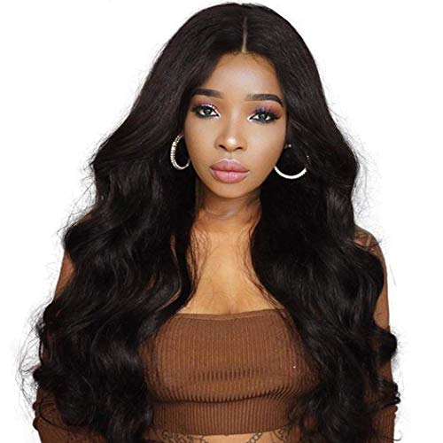 NIUDINNG Lace Wig Human Hair 13x4 Front Lace Unverarbeitet Jungfrau Remy Echte Haare Perücke Lace Front Wig Body Wave Naturschwarz mit Baby Hair Lange 22 zoll -