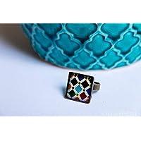 Anillo Alhambra - Mosaico Multicolor vintage - Cerámica Colores Fotografía Resina ecológica 18mm - Regalos originales para mujer - Aniversario - Regalo reyes