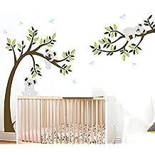 BDECOLL Vinilos decorativos/Árbol de 3 Koalas adhesivos vinilo de niños/habitación Guardería infantil Bebé decoración(Negro)