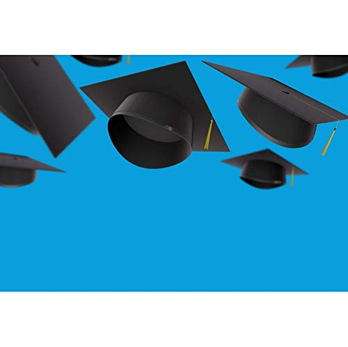 OERJU 3x2m Abschluss Hintergrund Bachelor Caps Blau Hintergrund Studentenabschluss Abschlussball Banner Fotografie Produkt Requisiten -