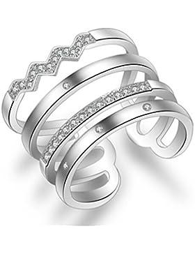 Summens Damen 925 Sterling Silber Zirkonia Verstellbar Partnerringe Öffnung Ring Freundschaftsringe Ring für Frauen...