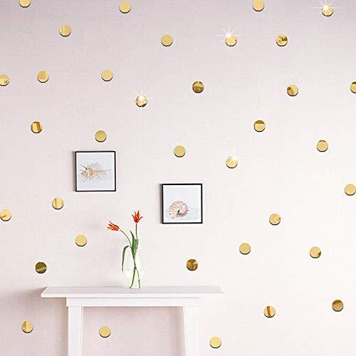 ufengke Acrílico Dorado Lunares Pegatinas de Pared 5cm de Diámetro Autoadhesivos Espejo Redondo Extraíble Adhesivos de Pared para Salón Baño Dormitorio