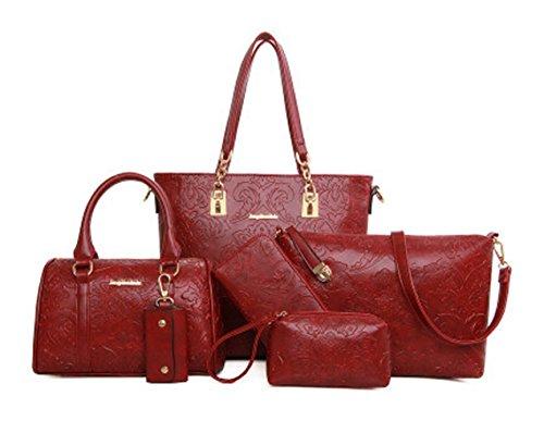 Keshi Pu Niedlich Damen Handtaschen, Hobo-Bags, Schultertaschen, Beutel, Beuteltaschen, Trend-Bags, Velours, Veloursleder, Wildleder, Tasche Weinrot