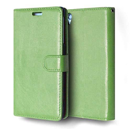 Cover Sony Xperia Z3, CAXPRO Custodia in PU Pelle per Sony Xperia Z3, Multifunzione Antiurto Protettiva Cover con Slot per Carte di Credito, Verde