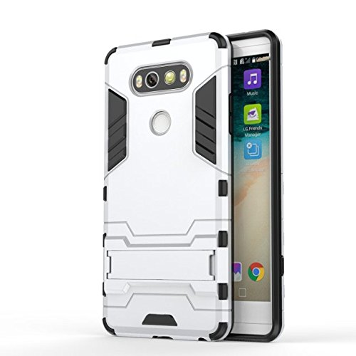 LG V20-Fall-Abdeckung 2 in 1 Tough Art Hybrid Dual Layer Rüstung Defender PC Hard Cases New Armour Standplatz-Abdeckung Stoß- Fall Für LG V20 ( Color : White , Size : LG V20 ) White
