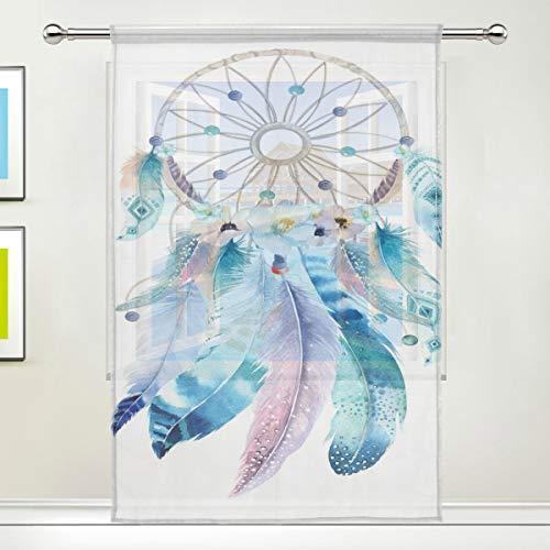 XiangHeFu - Cortina de Tul, Colorida, decoración de Plumas, diseño de atrapasueños, Cortinas de Gasa para Dormitorio, 55 x 78 cm, 1 Panel, poliéster, Image 469, 55x78x1(in)