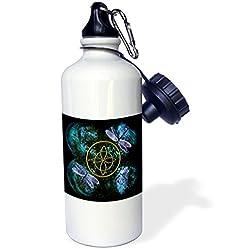 3dRose wb_31621_1 Celtic Knot Celtic Design Sports Water Bottle, 21 oz, White