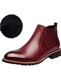 Hombre Botas Chelsea de Cuero Elegantes Calzado Oxfords Zapatos Forro Piel Sneakers Invierno Otoño Zapatos Negro Marrón Rojo 37-44