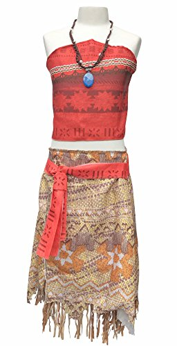 La Señorita Vaiana Kleid Moana Prinzessin Kinder Kostüm Verkleidung + Gratis Vaiana Kette (Größe 6-7 Jahre - 122-128 (130))