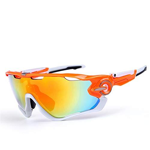 QAQ.SPG Radsportbrillen Sportbrille Polarisierte Sonnenbrille Damen Herren Fahrerbrille mit 5 auswechselbaren Gläsern UV400 Schutz Sportbrille Fürs Radfahren Golf Laufbrille Radsportbrillen,J