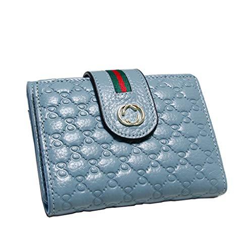 Dream Tissa Damen Short Section Wallet Leder Buckle Clutch Präge Geldbörse Kartenhalter (Color : Blue, Size : 11 * 9.5 * 2)