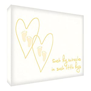 Feel Good Art Such a Big Miracle in Such Little Boys Diamond Polished Decor Token Newborn/Christening Gift (10 x 14.8 x 2 cm, Yellow)